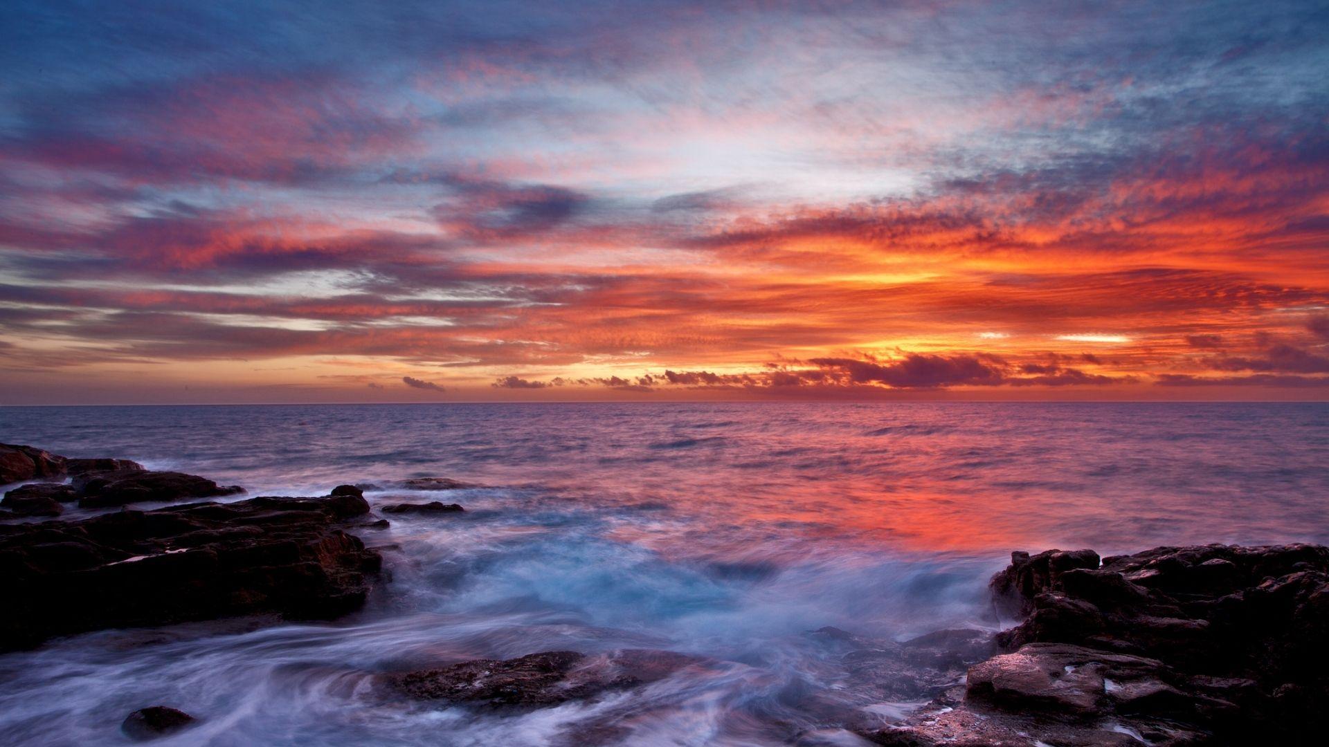 Download Wallpaper 1920x1080 Sea Sky Sunset Clouds Rocks Surf Full Hd 1080p Hd Background Seascape Photography Water Sunset Sunset Wallpaper rocks sea houses sunset sky