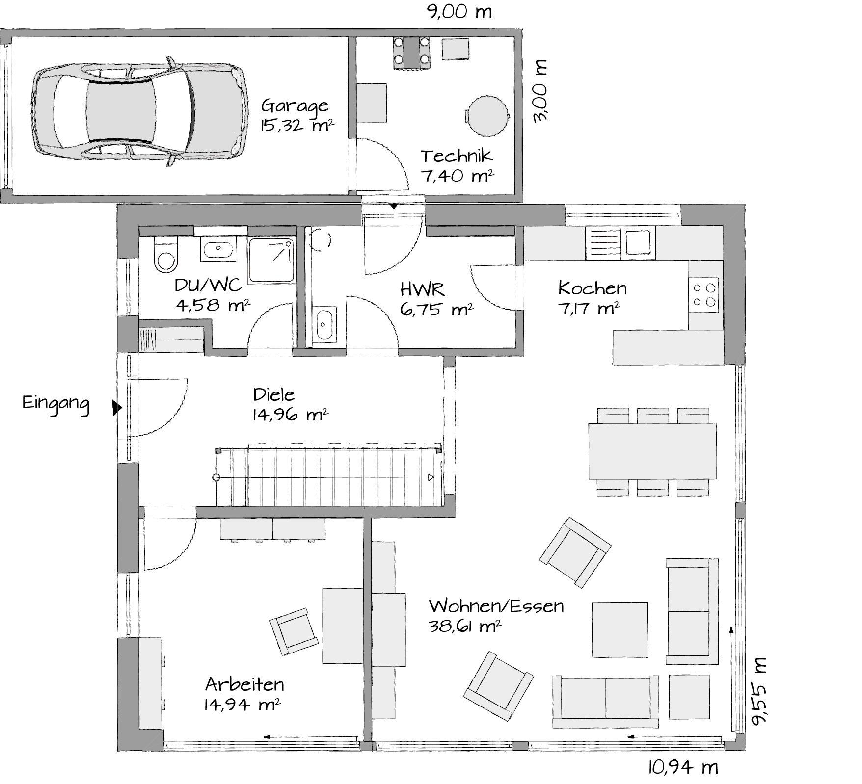 Beispiel grundriss 160 qm eg kubus mit luftraum hausbeispiele for Hausbau ideen bauplane