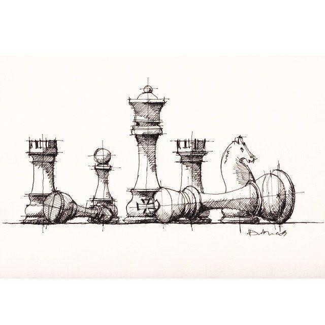 Chess Pieces Sketch Drawing En 2020 Dibujos Como Dibujar