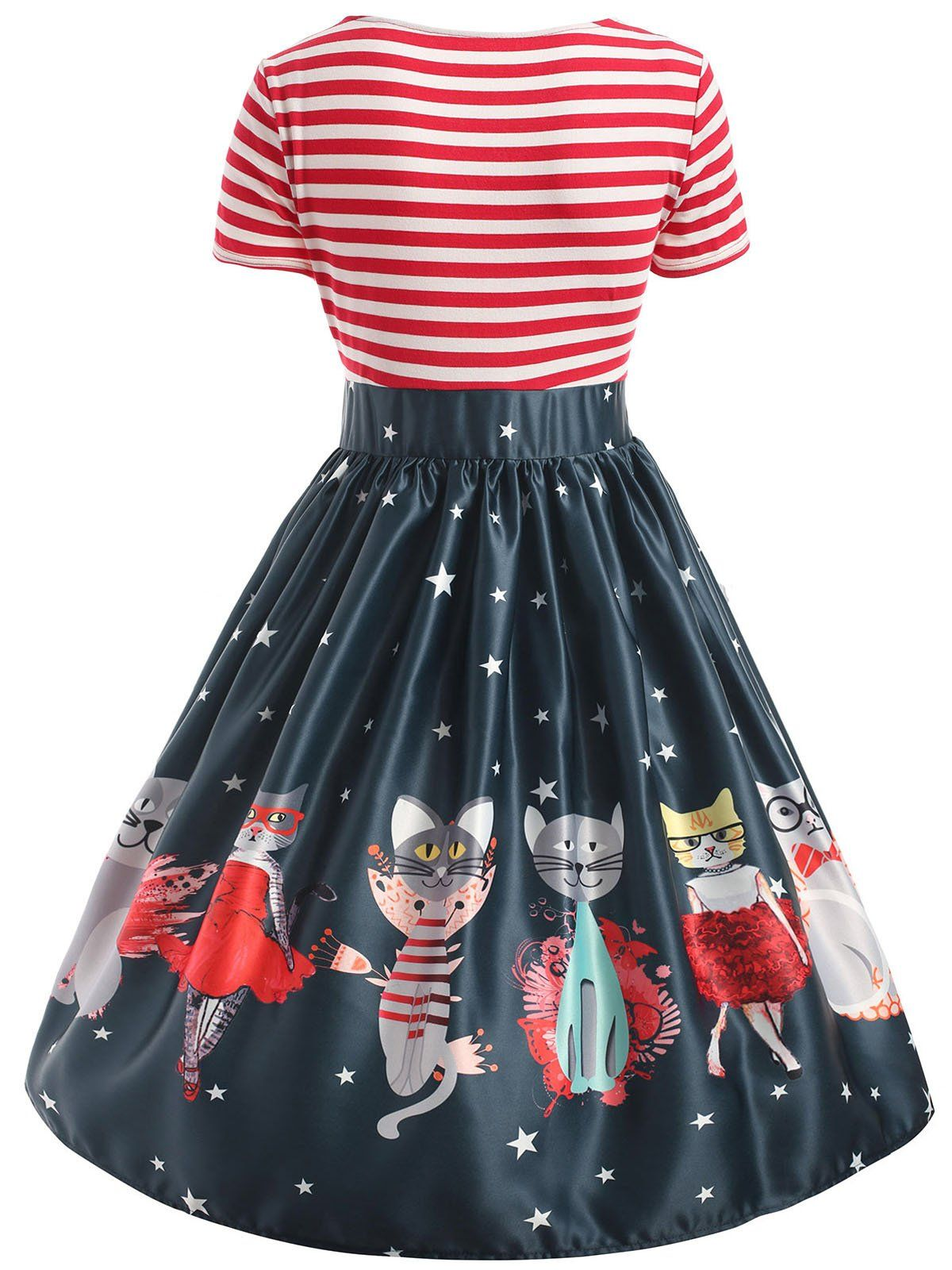 Red 1950s Cat Patchwork Swing Dress Retro Stage Chic Vintage Dresses And Accessories Plus Size Vintage Dresses Plus Size Club Dresses Vintage Dresses