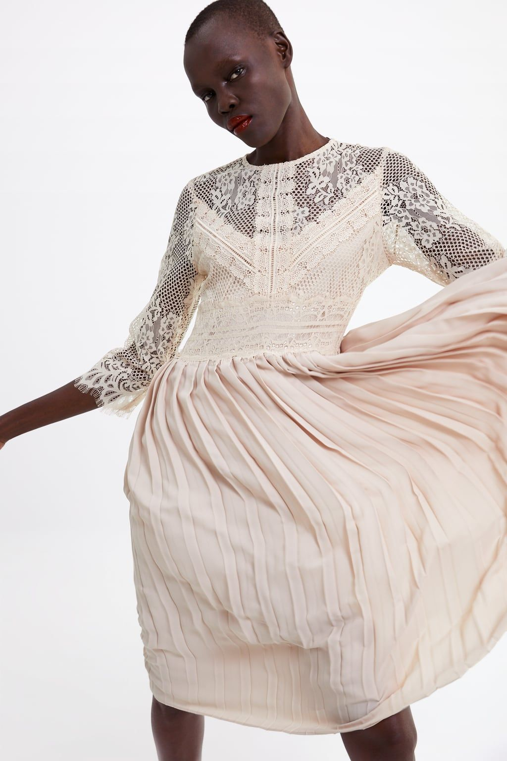 CONTRAST PLEATED DRESS-View all-DRESSES-WOMAN  ZARA United
