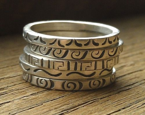 Sterling silver stamped stackers