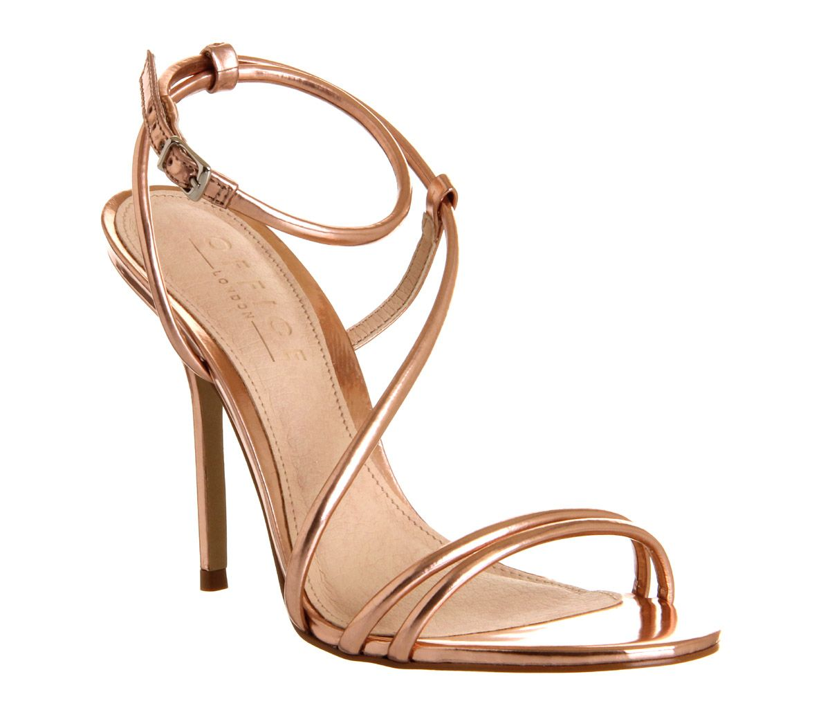 Details about Womens Office Jools Strappy Sandal ROSE GOLD Heels