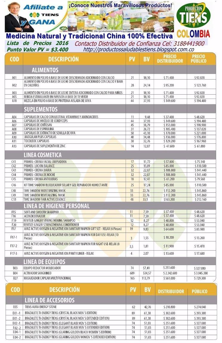 Lista de Precios Tiens 2016 | Productos Naturales Tiens Contacto Cel ...
