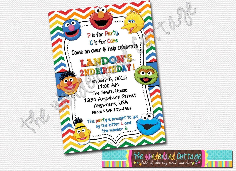 Sesame Street Invitation, Sesame Street birthday invite, Sesame ...