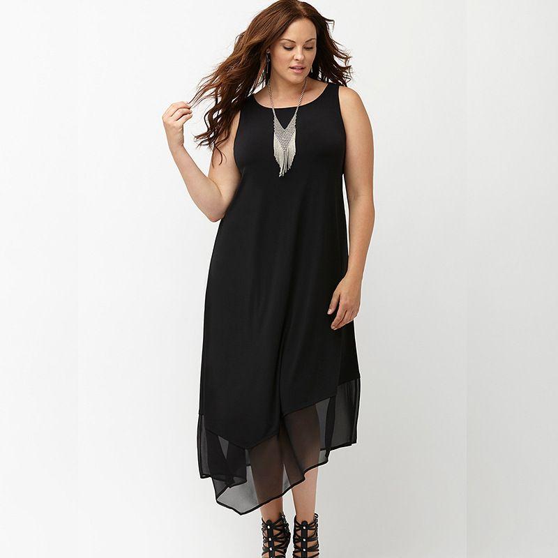 Newest 2016 Summer Casual Big Size Dress Sleeveless Women Black Mesh