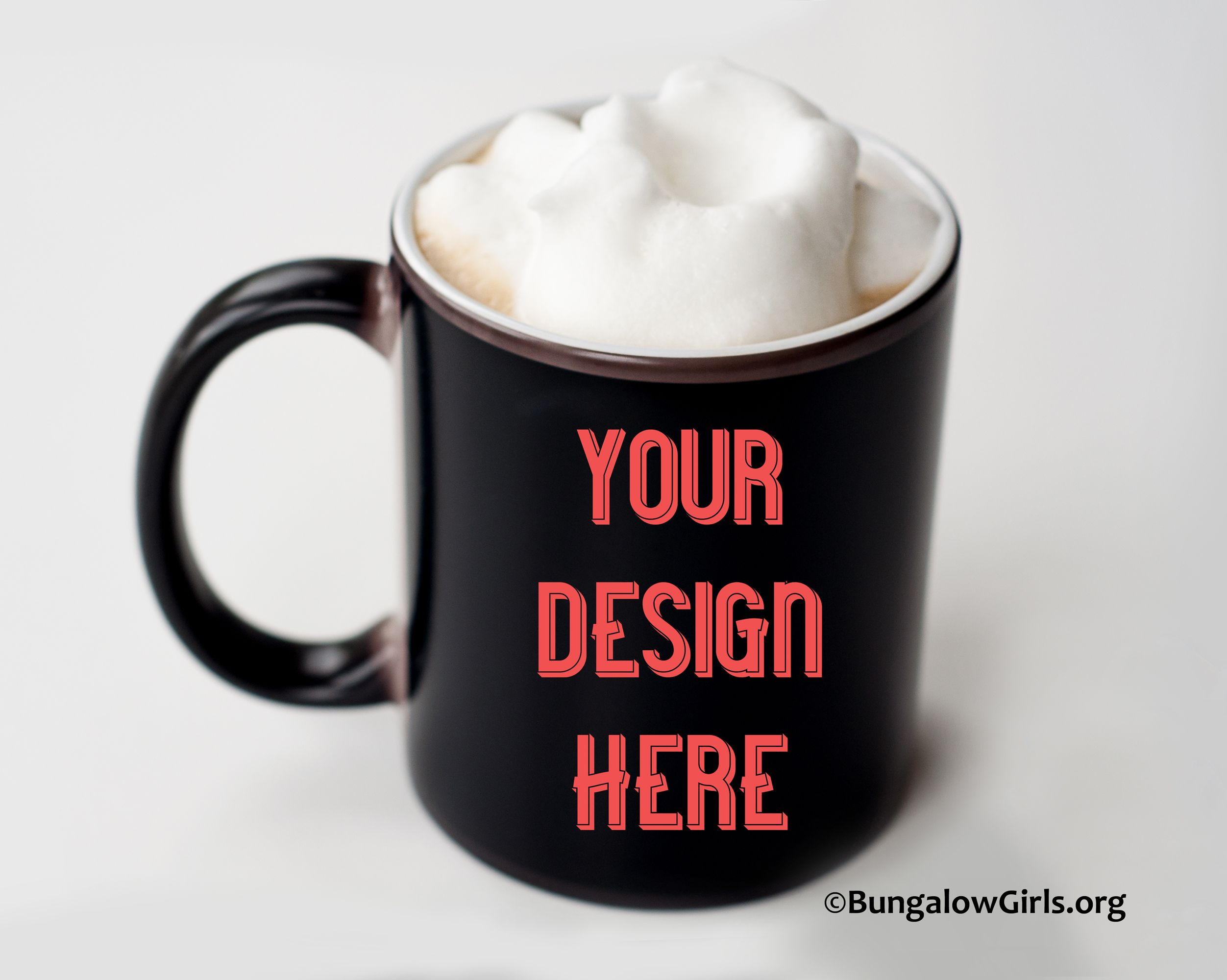 Mug mockup black Printful coffee cup with frothed milk