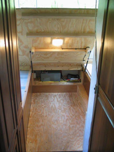 Bed Lifted Up For Storage Remodel Bedroom Camper Beds Gmc Motorhome