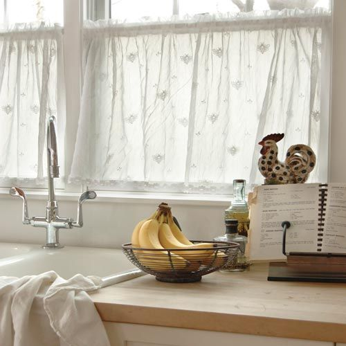 """kitchen curtains with little bees 30"""" long bee lace tier with trim"""