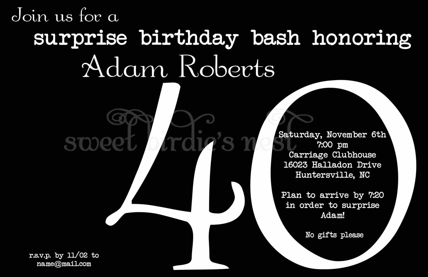 17 Best images about Party Ideas – 40th Birthday Invite