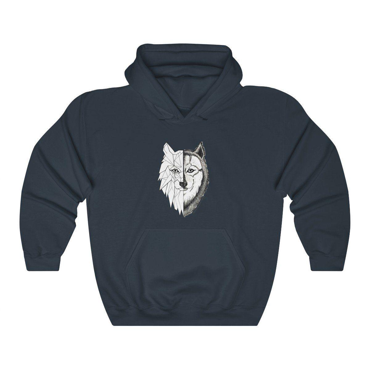 Photo of Wolf Geometric Hoodie – Navy / XL