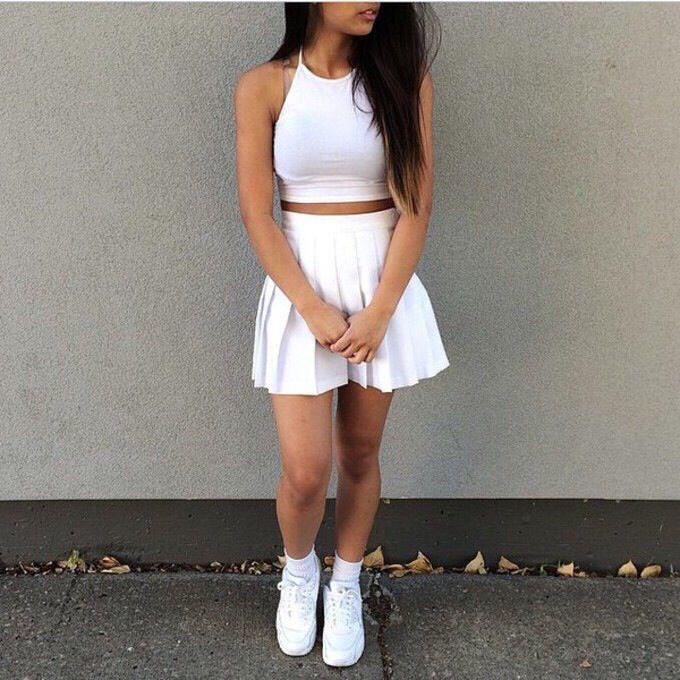 Blanco White Tennis Skirt Tennis Skirt Outfit Pleated Tennis Skirt