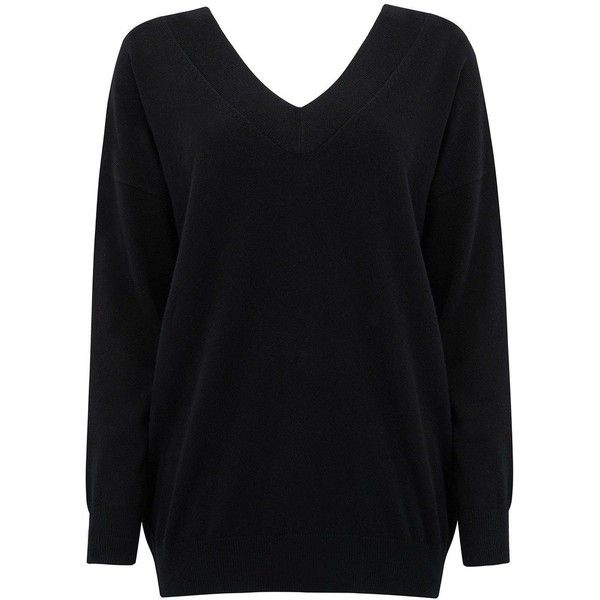 COCOA CASHMERE Double V Neck Cashmere Jumper Black (3 960