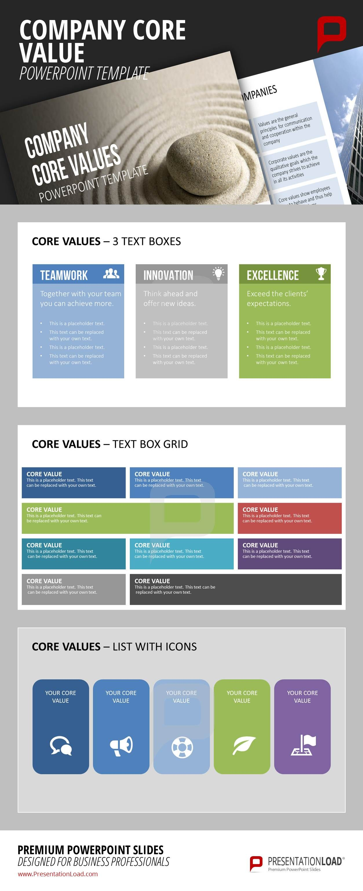 get more in detail while presenting your core values and make use of