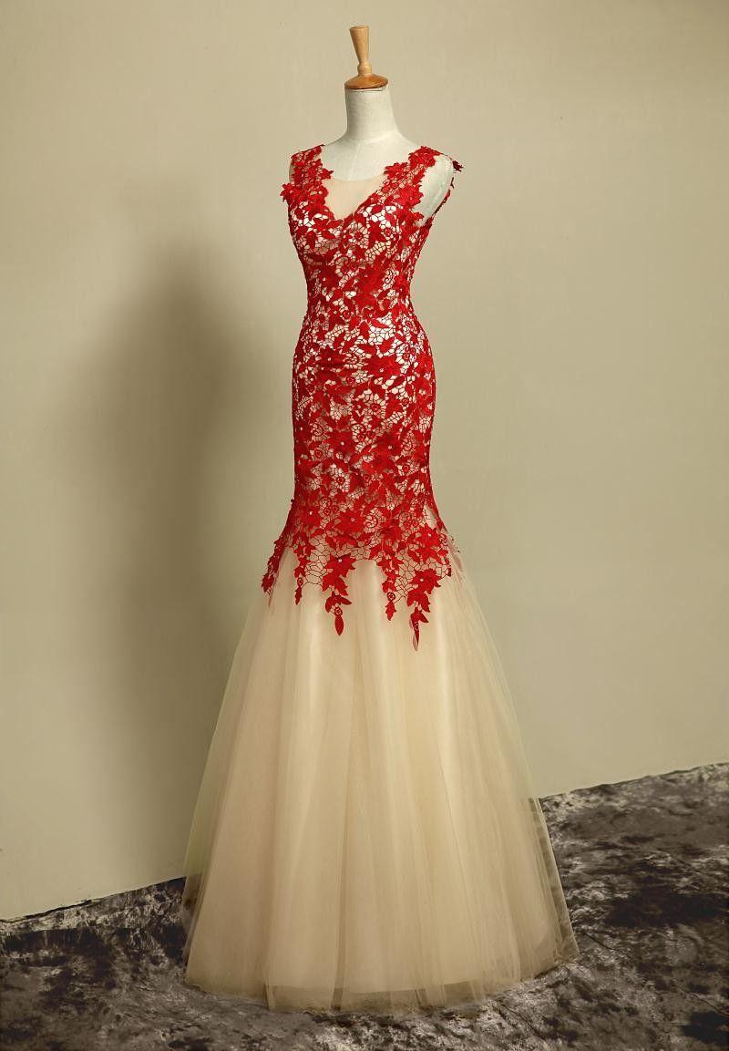 Buy simple dresses elegant mermaid halter long scoop red applique