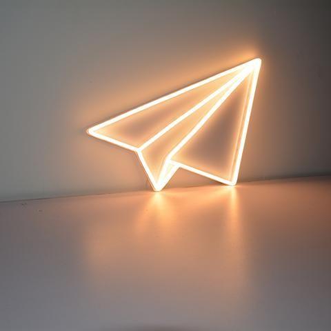 Enseigne Lumineuse Néon - L'Avion Origami *Création originale*
