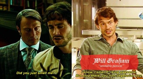 """""""Non-vegetarian boy."""" hugh dancy is the exact opposite of will graham and it catches me off guard every single time"""