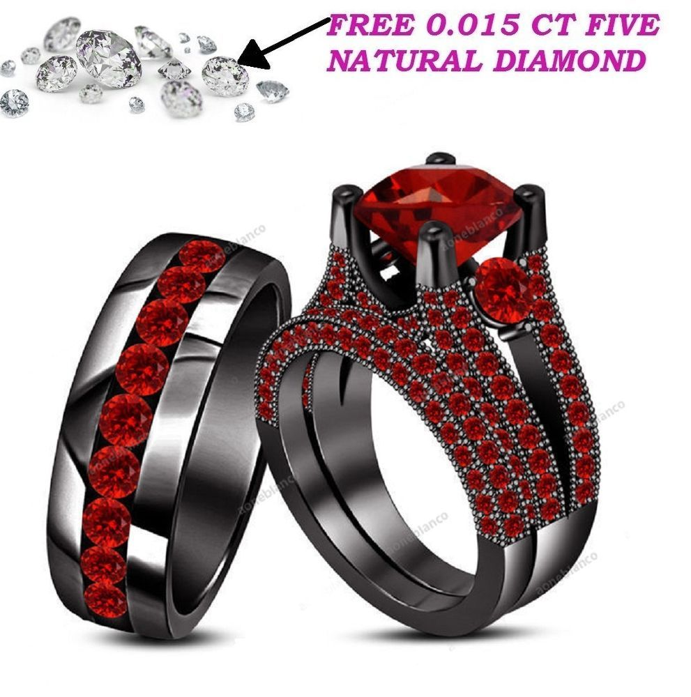 14k Black Gold Over Round Cut Red Garnet His And Her Wedding Band