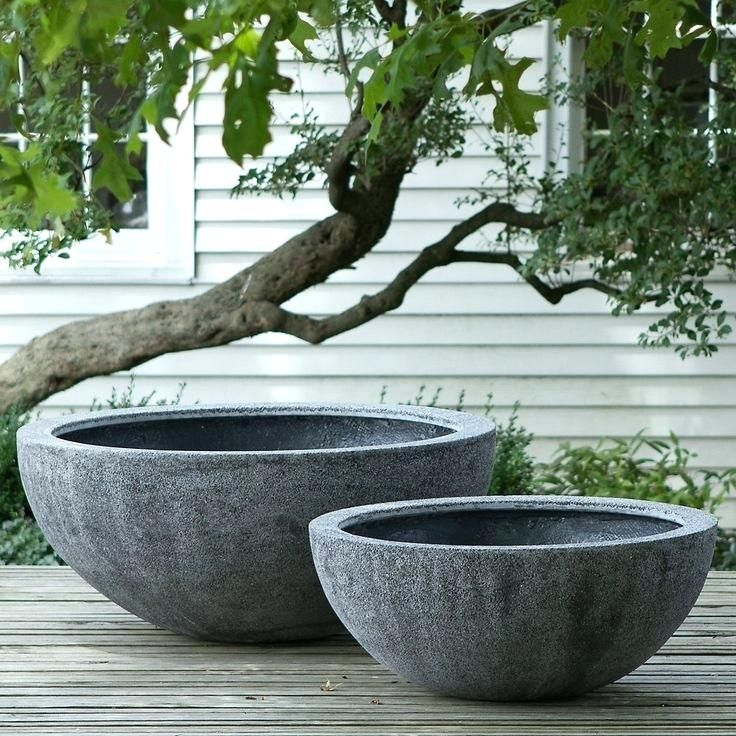 Shallow Garden Planters Large Outdoor Bowl Planter N Two Size