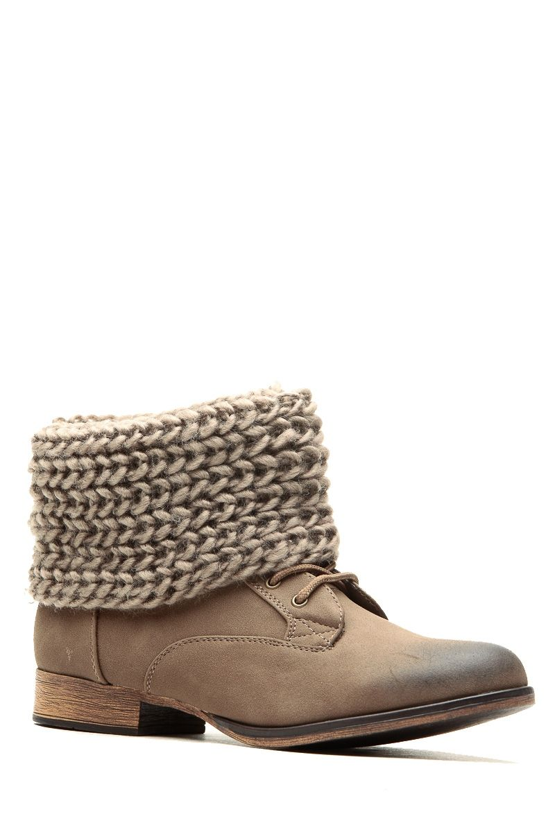 Taupe Faux Suede Knit Fold Over Lace Up Boots @ Cicihot