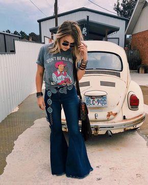 Keep on Truckin' ~ Denim Frayed Bell Bottom Jeans ~ Medium/Dark Blue Denim