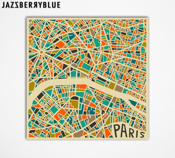 PARIS Map, Giclee Fine Art Print, Modern Abstract Wall Art, Home ...