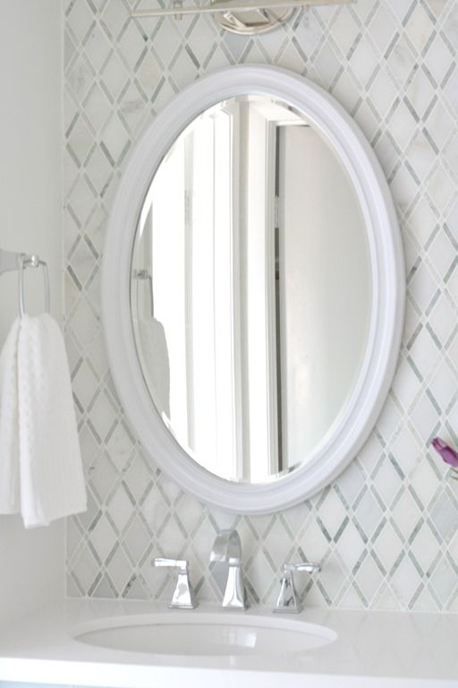 White Oval Vanity Mirror