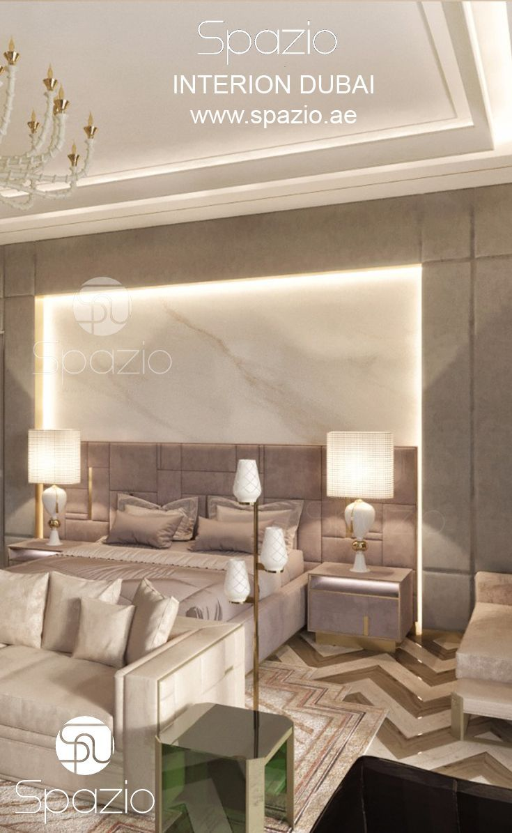 Luxury Master bedroom interior design and decor for a Dubai home or ...