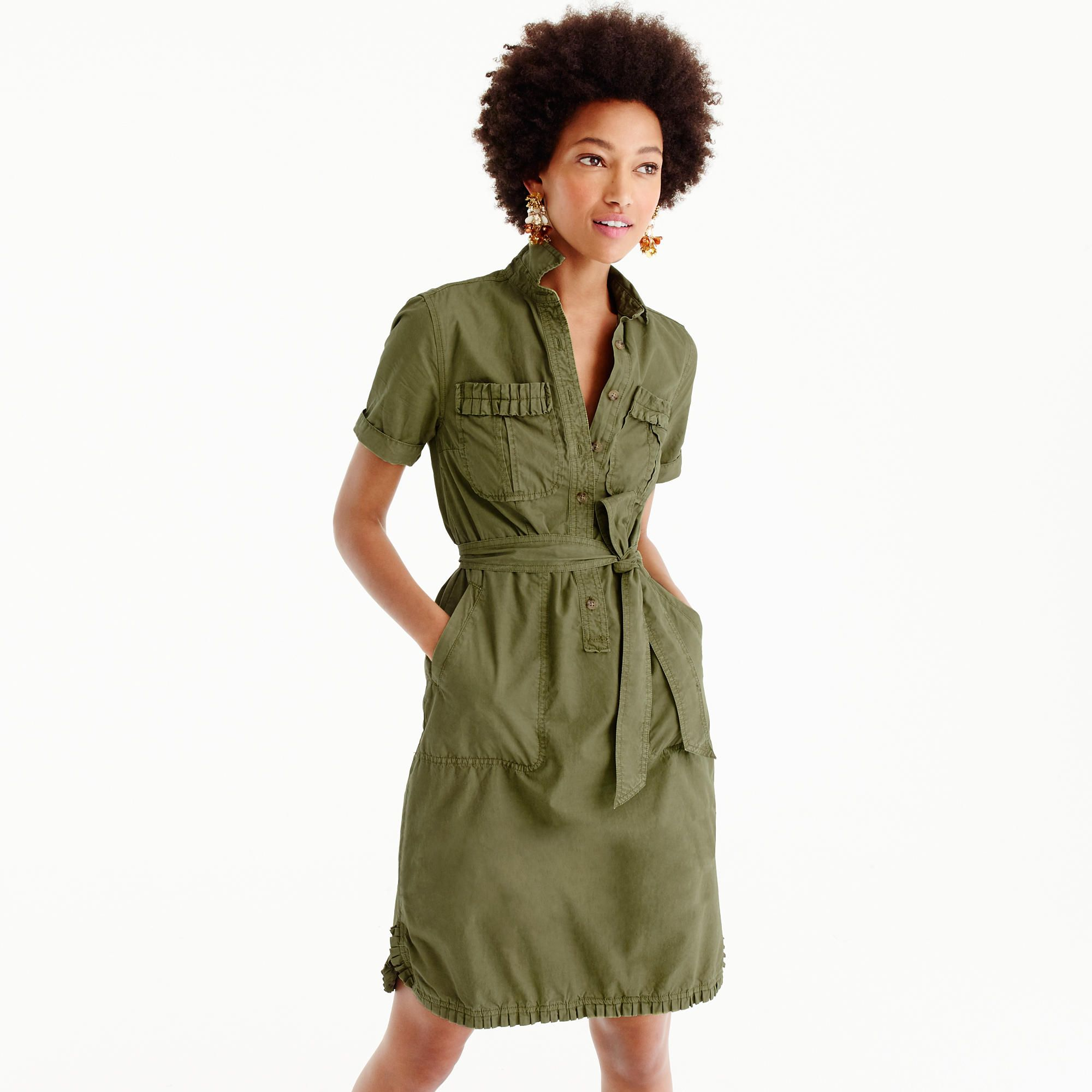 Ruffle Hem Utility Dress Women Dresses J Crew