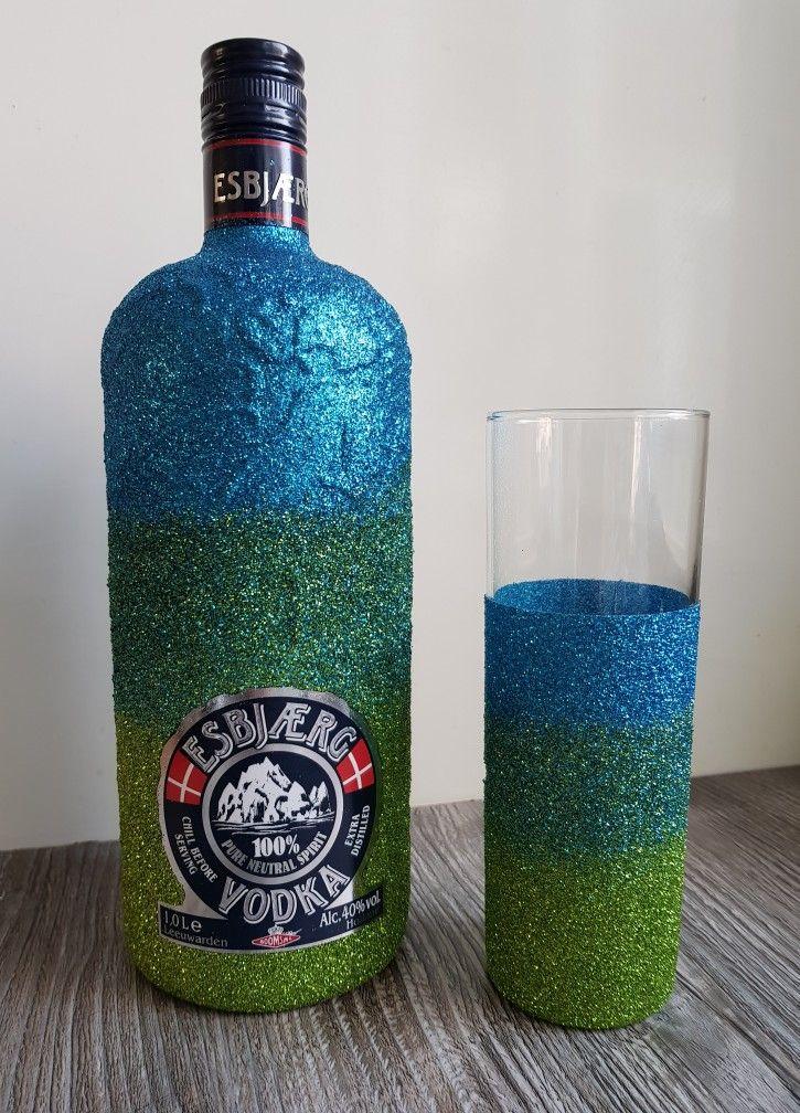Esbjaerg vodka wodka glitter bottle ombre blue
