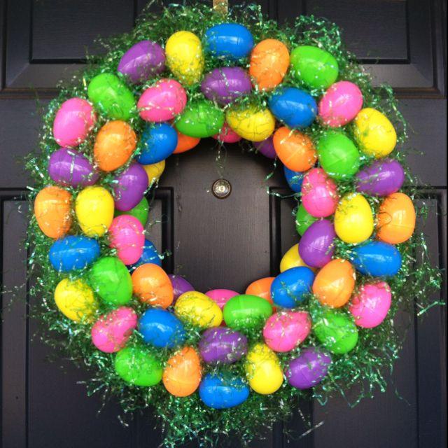 My New Diy Easter Wreath Styrofoam Wreath Plastic Eggs