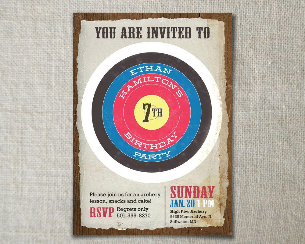 Archery birthday invitation // Boys birthday party idea // Bow and ...