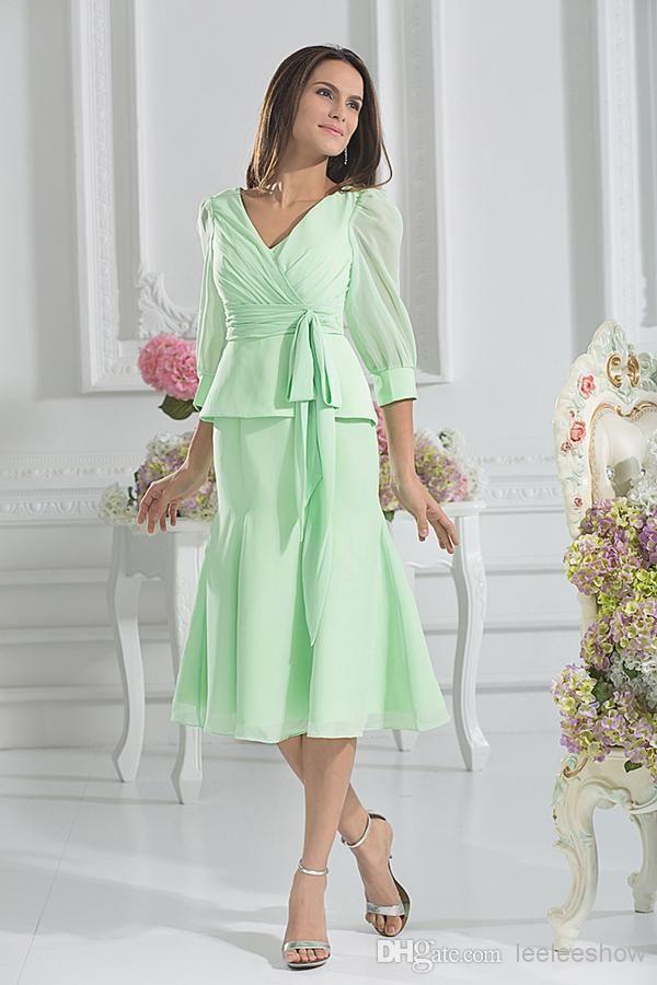 Short Mother Of The Bride Mint Kne-length Mother Dresses For ...