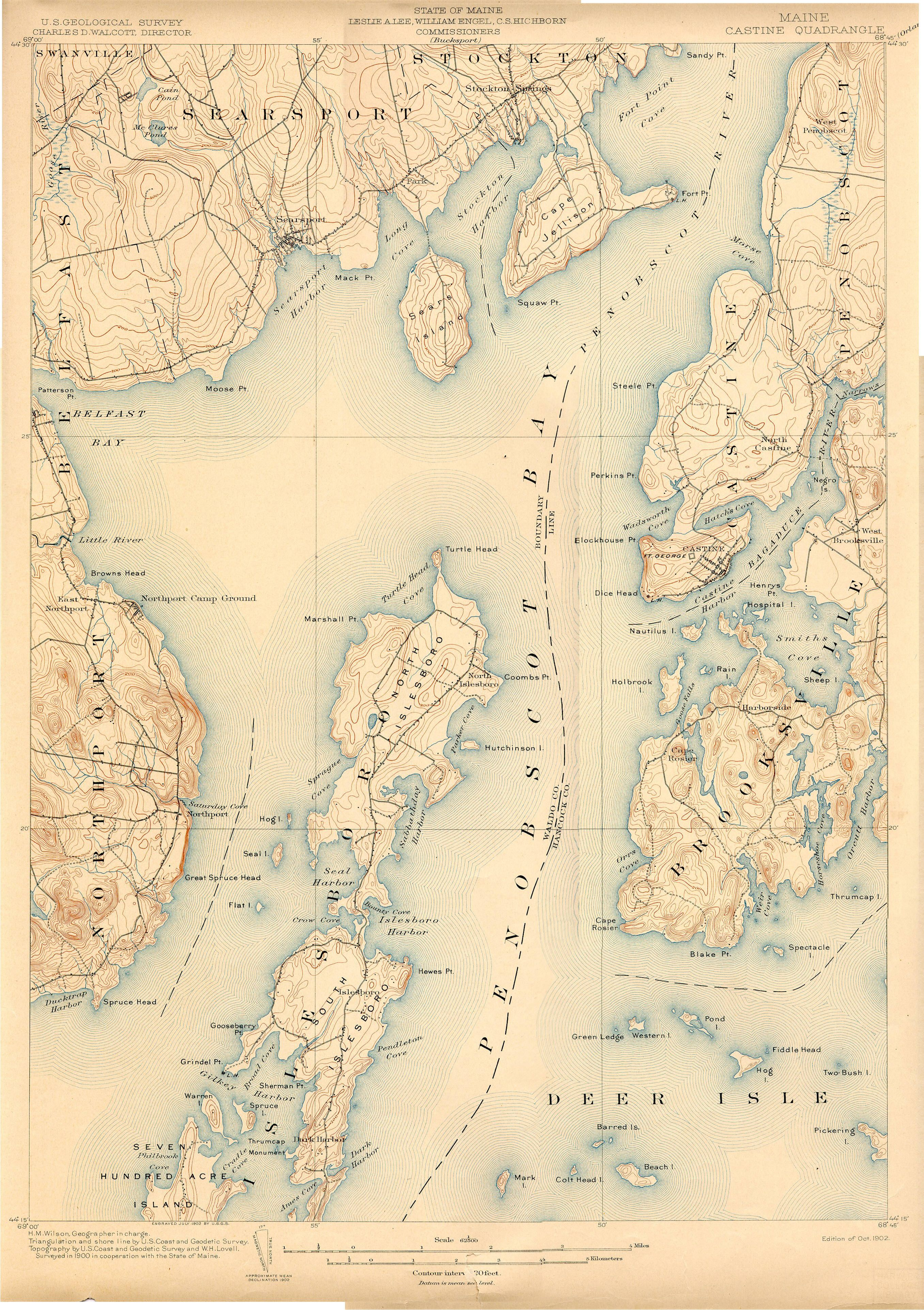 Castine Deer Isle Penobscot 1902 Map Maine Pinterest Map