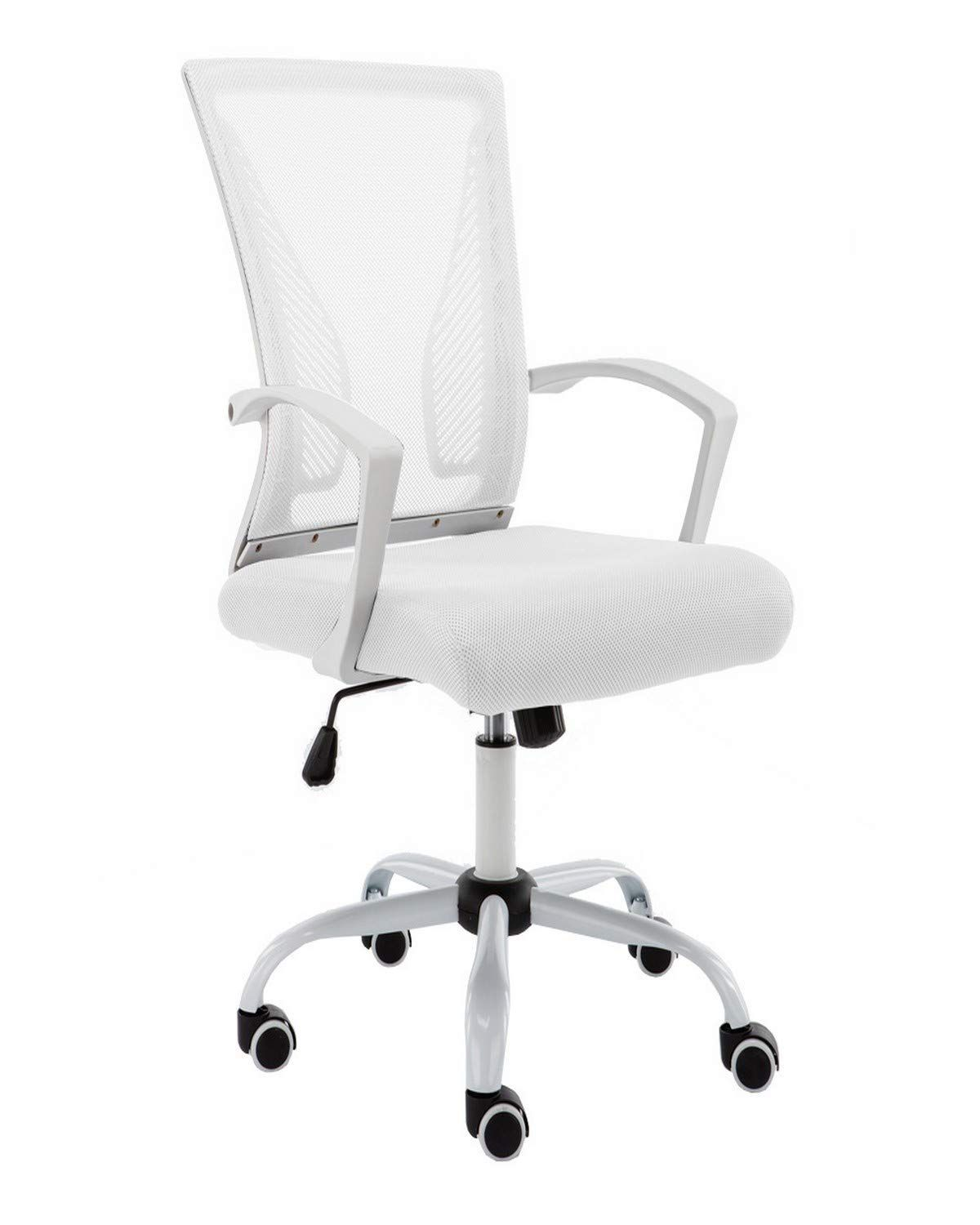 Modern Home Whwhite Zuna Mid Back Office Chair White White In