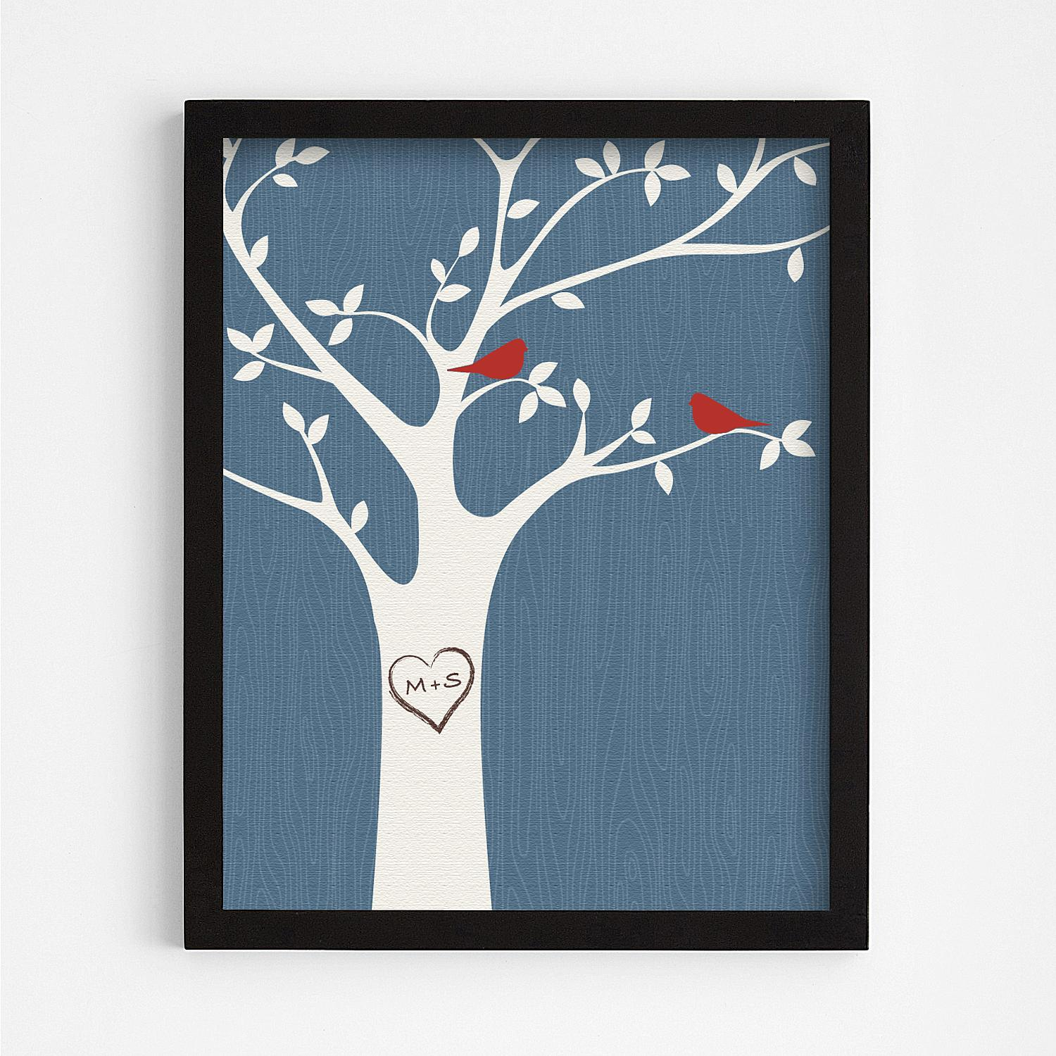 Tree initials black framed art blue in products pinterest