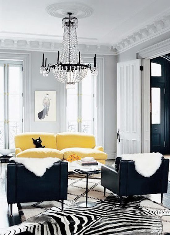 Zebra Rug And Art Decor Style Interior Photography Black White Living Room Yellow Yellow Living Room Home Lyon Homes