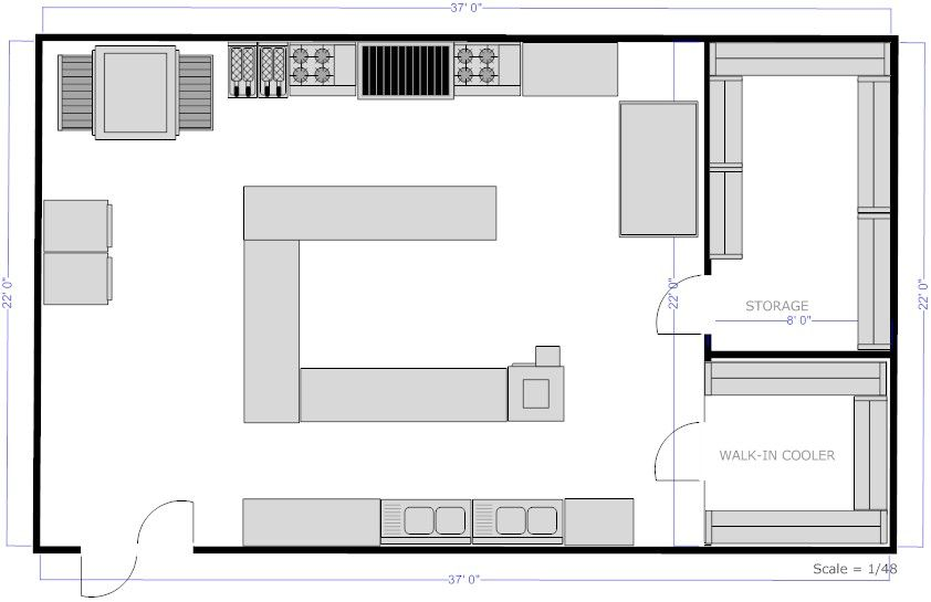 Kitchen layouts with island restaurant kitchen c island for Restaurant layout floor plan samples