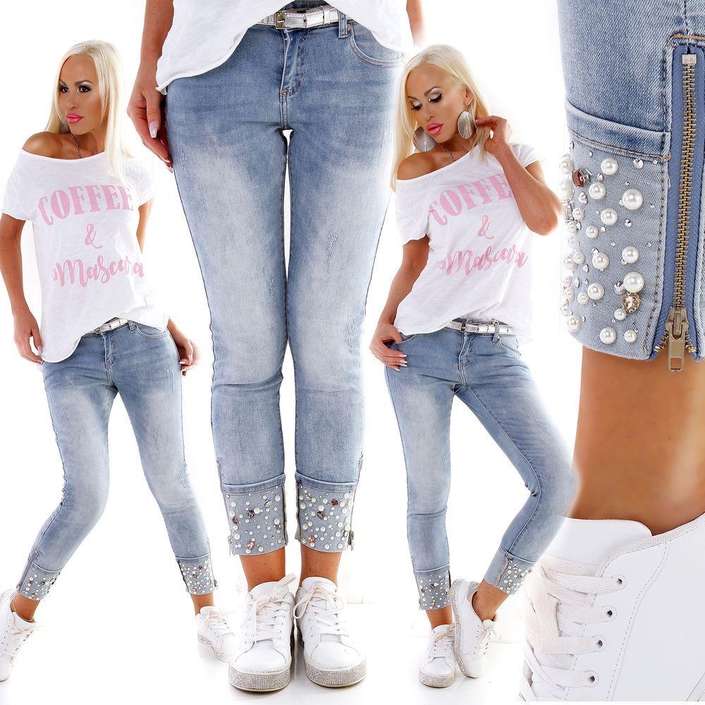 Damen 78 Jeans Hose Perlen Glitzer Steine Strass Skinny