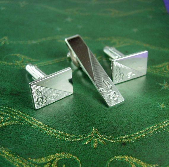 Floral Engravable Cufflinks Vintage Silver by NeatstuffAntiques