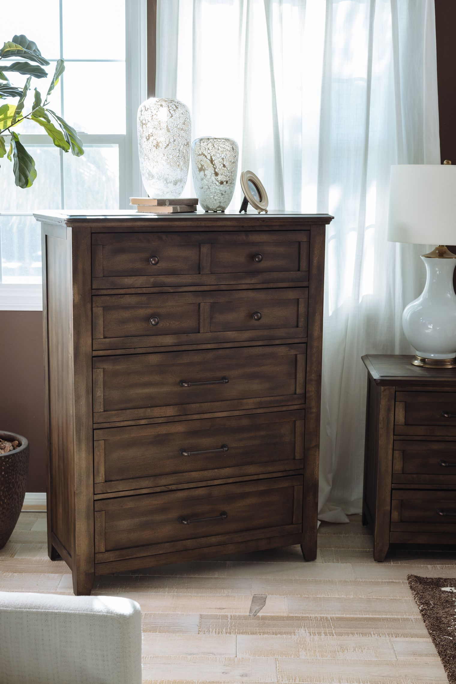 FiveDrawer Contemporary Chest in Birch Gray