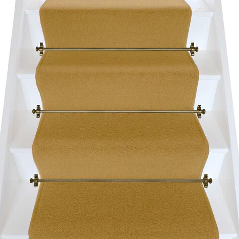 Best Brintons Carpets Bell Twist Luxor Gold Plain Stair Runner 640 x 480