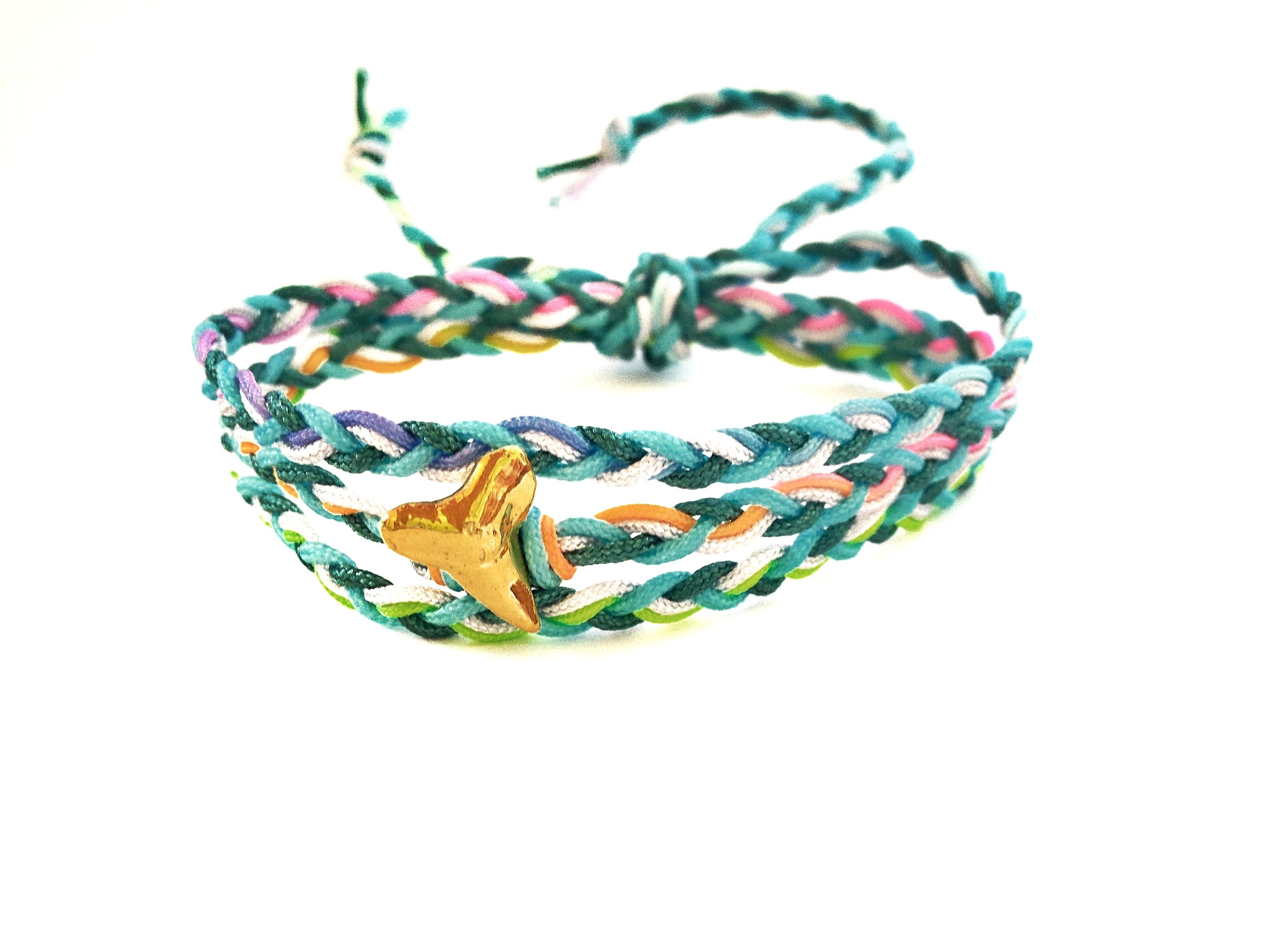 Braided bracelet with gold shark tooth ombre bracelet braid aqua