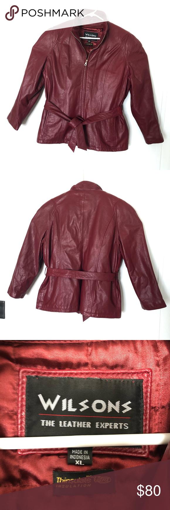 Wilsons Coat Jacket Leather Bomber Zip Tie Red XL (With