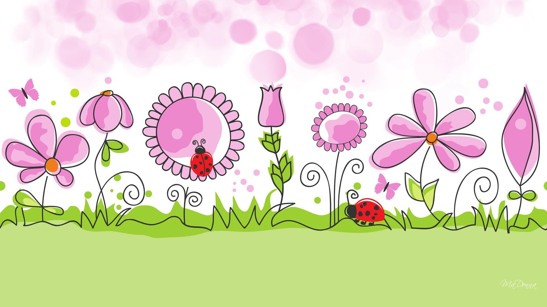 HD Flower Garden Spring Vector Free Desktop Background