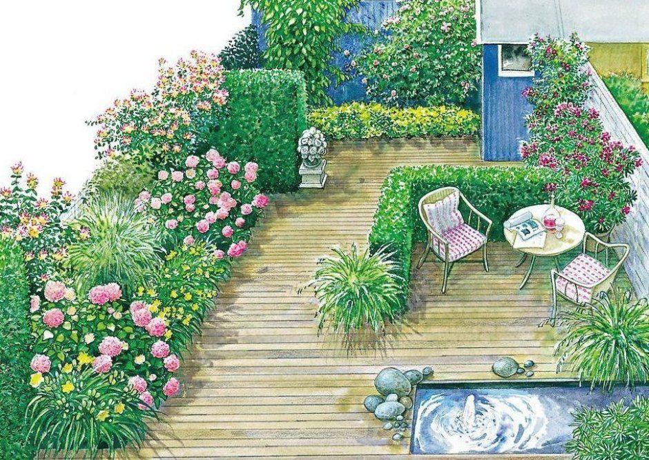 Dieser Garten Kommt Ohne Rasen Aus Im Holzdeck Ist Ein Wasserbecken Eingelassen Mehr Zum Gestalten Des Gartens Lest Ihr Hie In 2020 Vorgarten Garten Reihenhausgarten