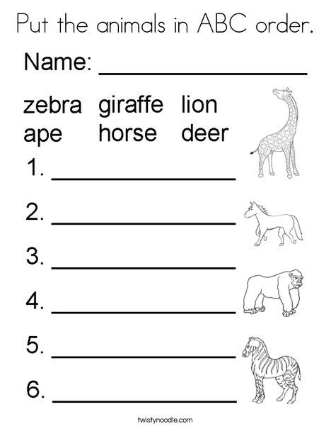 Put The Animals In Abc Order Coloring Page Twisty Noodle With