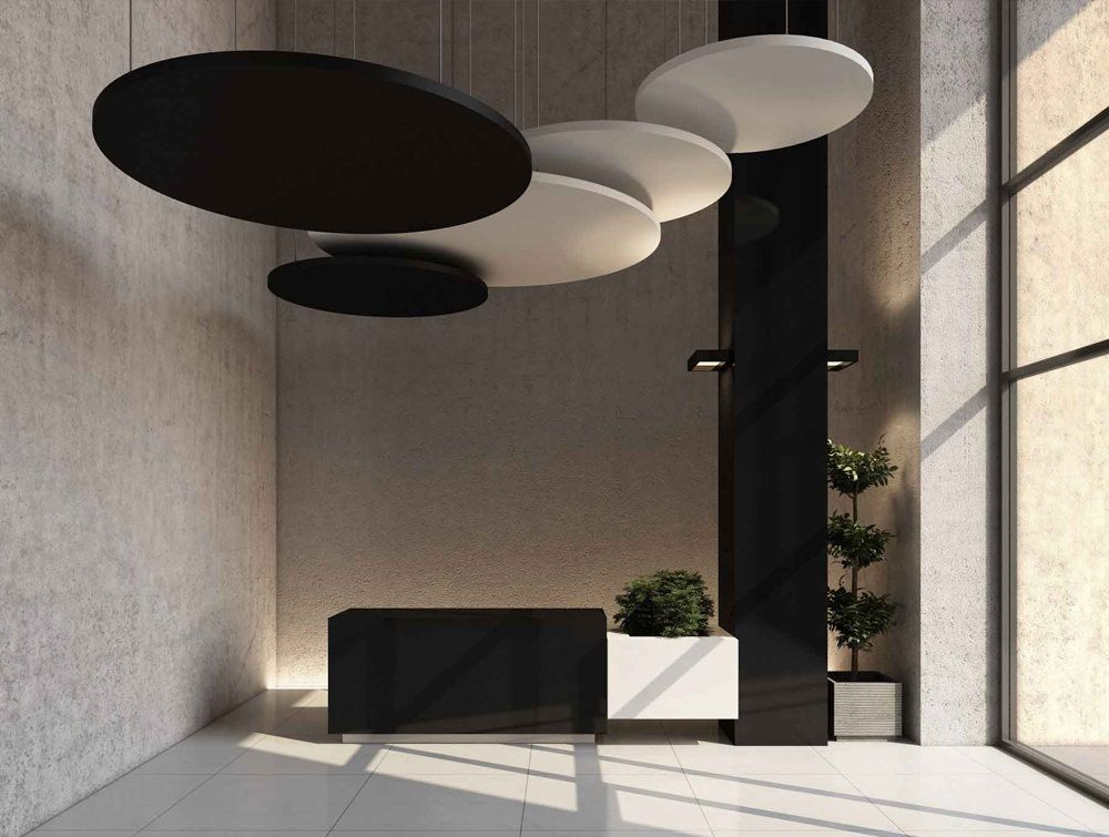 Soundtect Acoustic Circles Hanging Panels Radius Office Acoustic Ceiling Panels Acoustic Wall Panels Sound Proofing Ceiling