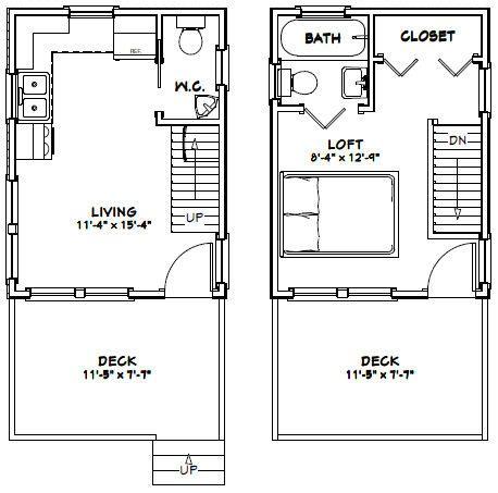 12x16 Tiny House 12X16H3A 364 Sq Ft