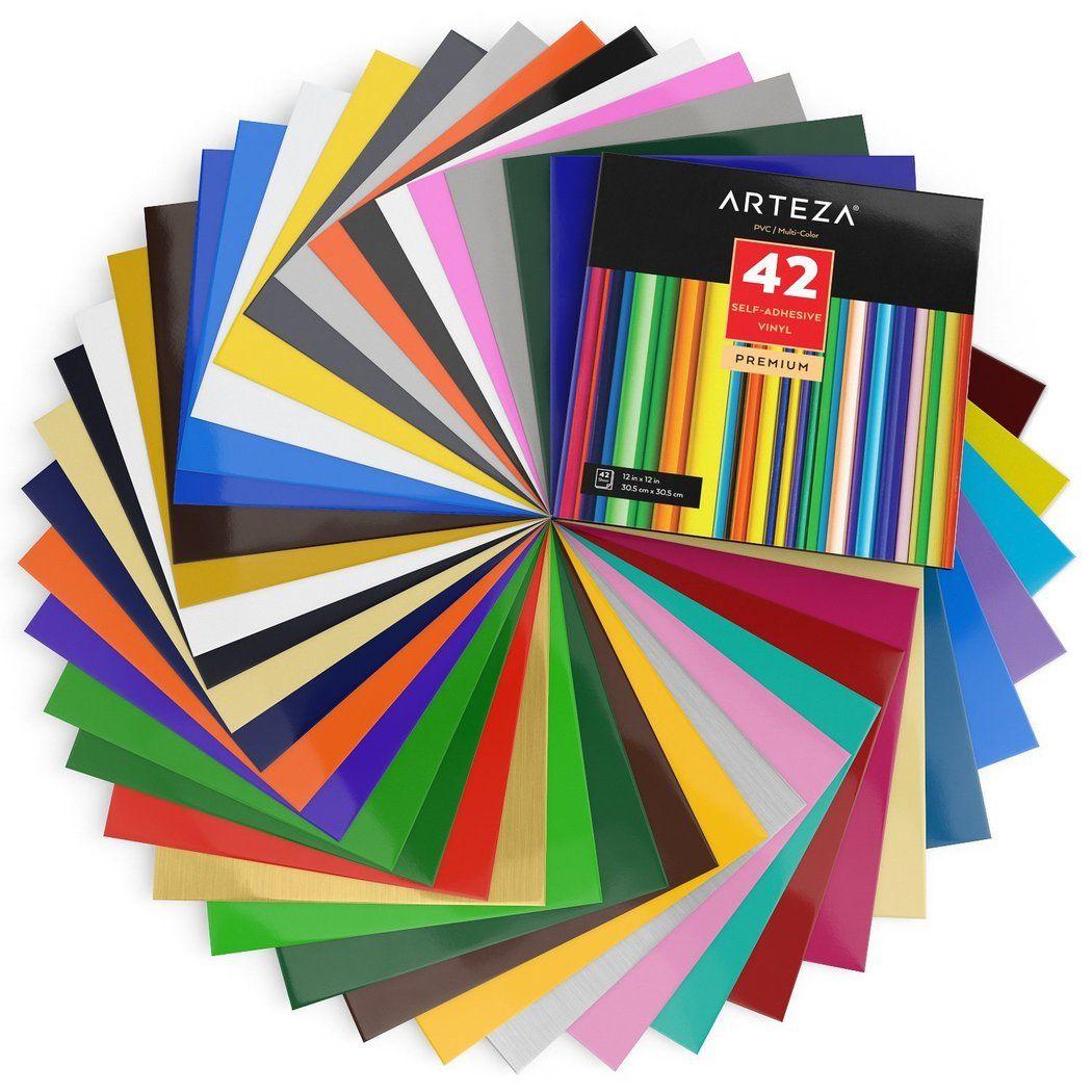 Arteza Self Adhesive Vinyl 12x12 Assorted Colors 42 Sheets Adhesive Vinyl Sheets Arteza Adhesive Vinyl